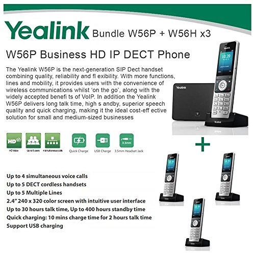 Yealink W56P + W56H X3 Cordless VoIP Phone PoE HD Voice and Base Unit USB Charge (Usb Voice Over Ip Phone)