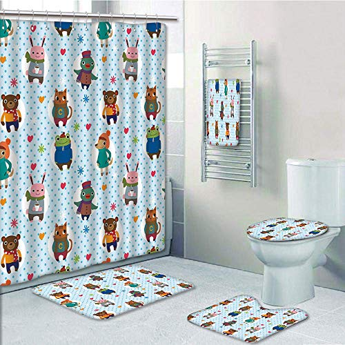 Bathroom 5 Piece Set Shower Curtain 3D Print,Nursery,Collection of Animals with Winter Clothing Hats Hot Coffee on a Dotted Background Decorative,Multicolor,Bath Mat,Bathroom Carpet Rug,Non-Slip,Bath
