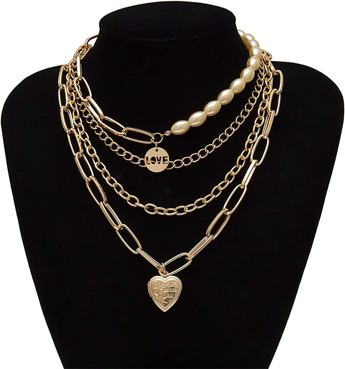 Ingemark Statement Cool Punk Chunky Chain Necklace for Women Girls Heart Shaped Photo Locket Pendant Layered Pearl Choker Necklace