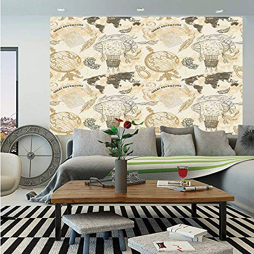 SoSung Wanderlust Decor Wall Mural,Vintage Globe World Map Airship Rope Knots Ribbon Retro Illustration Decorative,Self-Adhesive Large Wallpaper for Home Decor 55x78 inches,Beige Olive Green ()