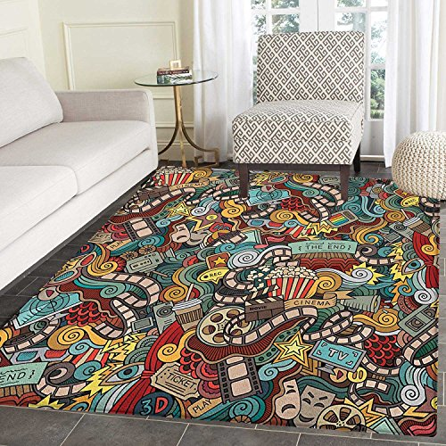 Doodle Rugs for Bedroom Cinema Items Combined in an Abstract Style Popcorn Movie Reel The End Theatre Masks Circle Rugs for Living Room 2'x3' Multicolor by smallbeefly