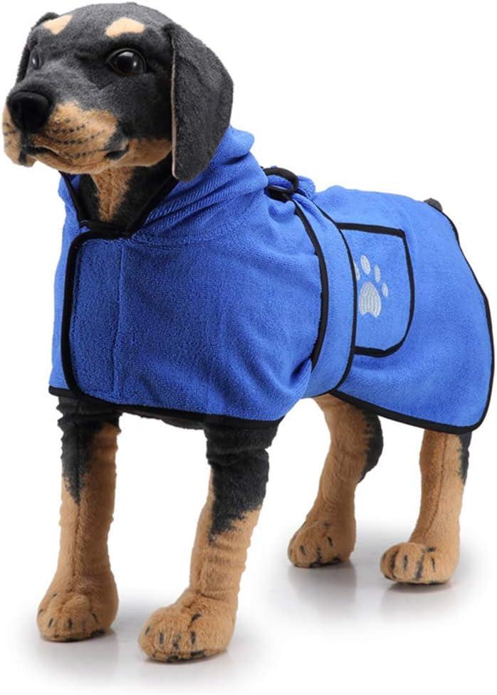 Conocimos Albornoz para perro con cinturón de capucha, bata de baño suave y toalla de secado súper absorbente con bolsillo para perros grandes, medianos, pequeños (XL, azul)