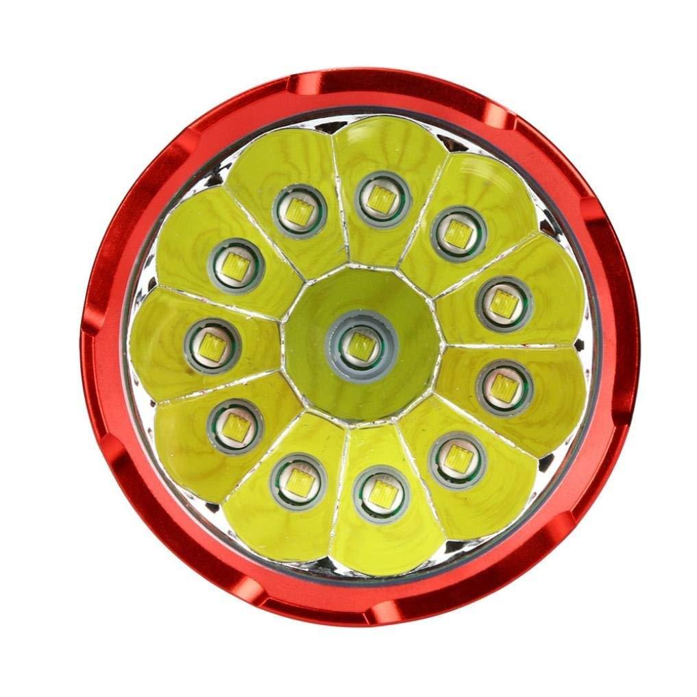 12000 l/úmene linterna recargable led linternas de alta potencia Super brillante linterna t/áctica militar 12 x XML T6 LED Con display de potencia y 4 pilas