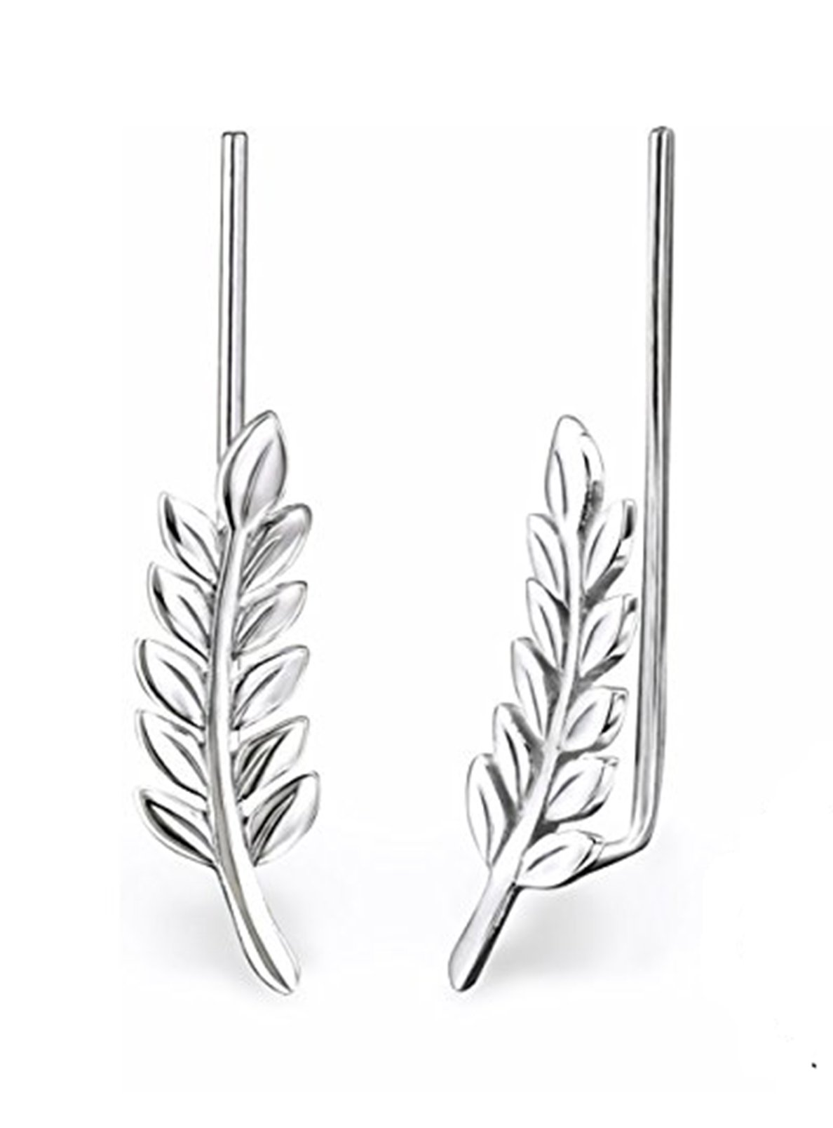 Best Wing Jewelry .925 Sterling Silver Leaf Ear Pin/Ear Climber/Ear Crawler Earrings (028625) by Best Wing Jewelry (Image #1)