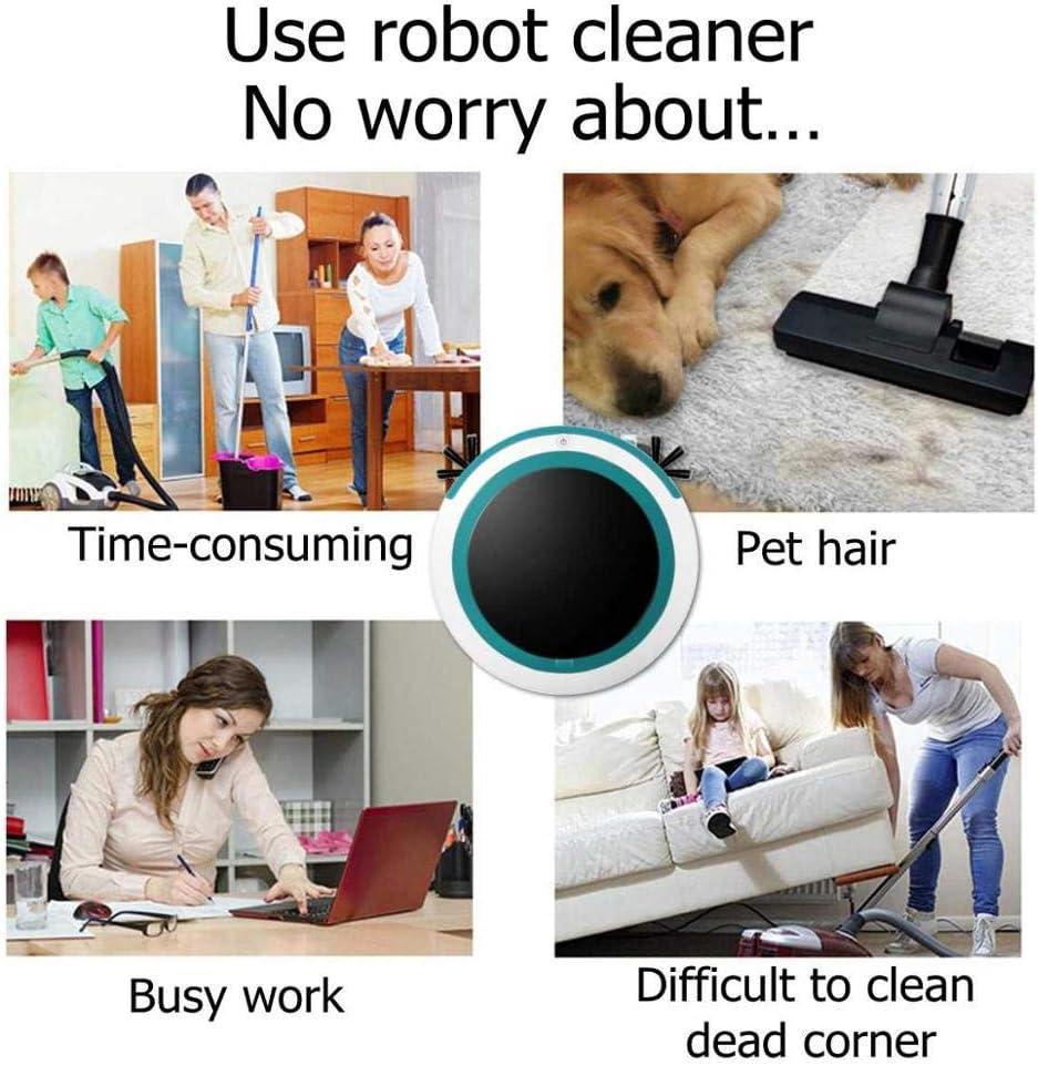 ZUEN Automatique Intelligent Aspirateur Robot Mopping Balayer Sweeper Aspiration sans Fil Poussière Automatique Machine Anti-Chute pour Nettoyage Domestique Darkgreen