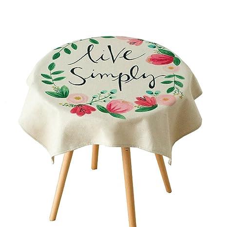 Pintado a mano planta de arte Mantel de mesa redonda Algodón y lino Tela de mesa