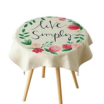 Pintado a mano planta de arte Mantel de mesa redonda Algodón y lino Tela de mesa ...