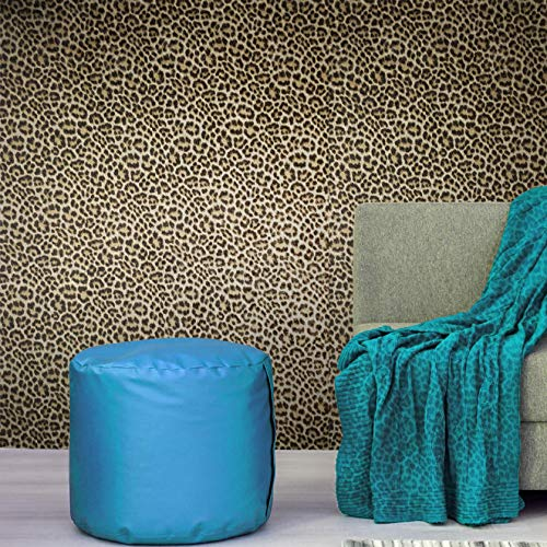 (Made in Italy Portofino Textured Embossed Glitter wallcoverings Rolls Modern Embossed Vinyl Wallpaper Black Gold Metallic Leopard Cheetah Jaguar Animal Print Faux Fur Skin (Roll (2.3 ft x 33 ft)))