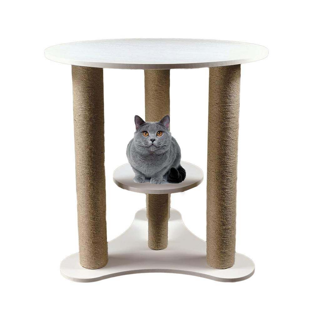 White People Pet Sharing Multifunctional Cat Home Coffee Table Negotiation Table Cat Furniture Pet Cat Toy Cat Climbing Cat Litter Room (color   White)