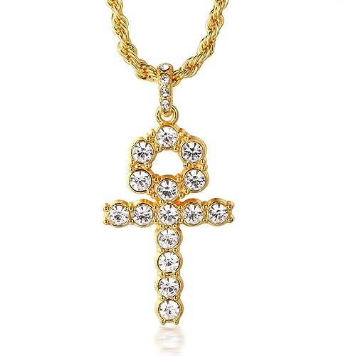 Halukakah ORACIÓN Hombres 18K Oro Verdadero Plateado Cruzar Colgante Incrustación de Diamantes Artificiales Collar con Cadena