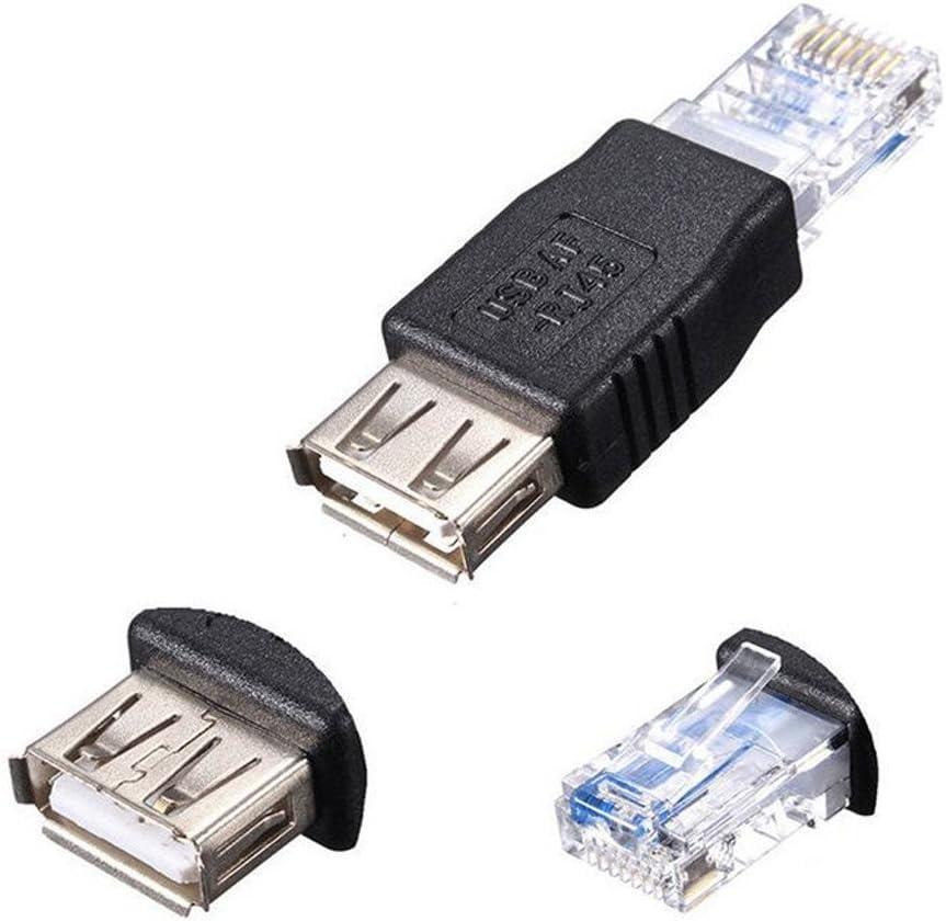 USB Typ A Buchse auf RJ45 Stecker Ethernet Adapter Router Stecker Steckdose Schwarz