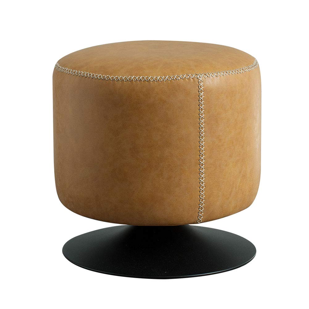 - HM&DX Swivel Ottoman Footstool Round, Leather Upholstered Footrest