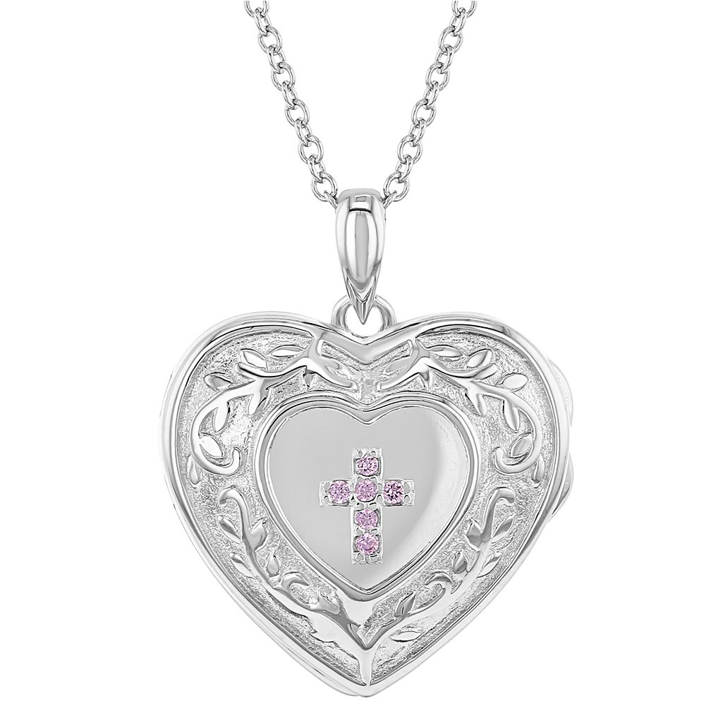 "925 Sterling Silver CZ Cross Heart Locket Pendant Necklace for Girls 16"" In Season Jewelry"