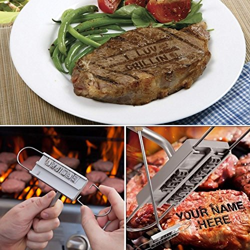 ISUDA BBQ Branding Iron Set with Changeable Letters Barbecue Steak Names Tool For Grilling