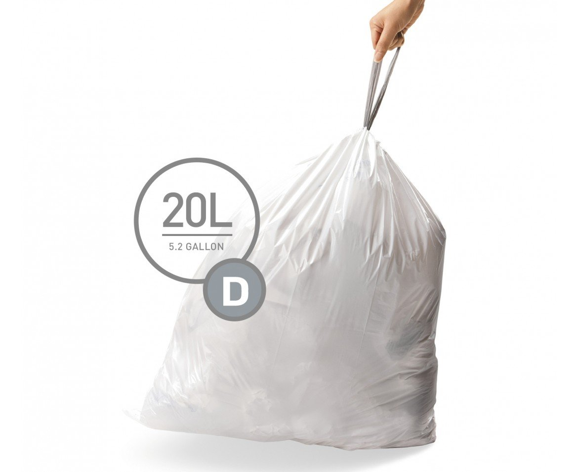 simplehuman Code D Custom Fit Liners, Drawstring Trash Bags, 20 Liter / 5.2 Gallon, 3 Refill Packs (60 Count)