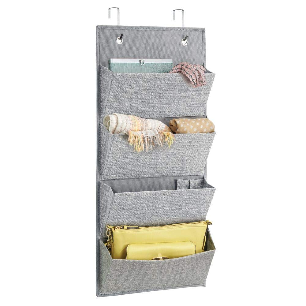 Entryway Hallway Hooks Included Charcoal Gray//Black Mudroom Textured Print mDesign Soft Fabric Over the Door Hanging Storage Organizer with 3 Large Pockets for Closets in Bedrooms