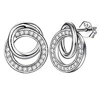 Ohrstecker Silber 925 Damen Ohrringe nickelfrei,süße romantik Liebe Doppel Ring mit zirkonia, J.Endéar Schmuck Geschenk für Frauen