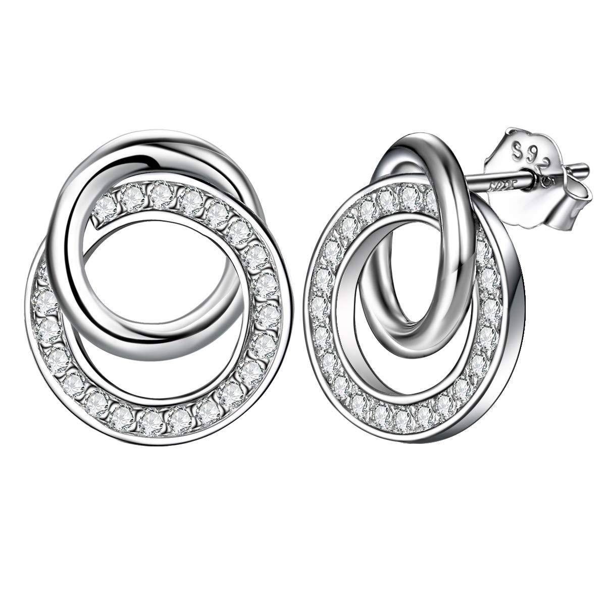 Boucles d'oreilles femmes en argent sweet romantique cercles imbriqué s idé al femelle anti allergique bijoux cadeau J.Endéar YDE100