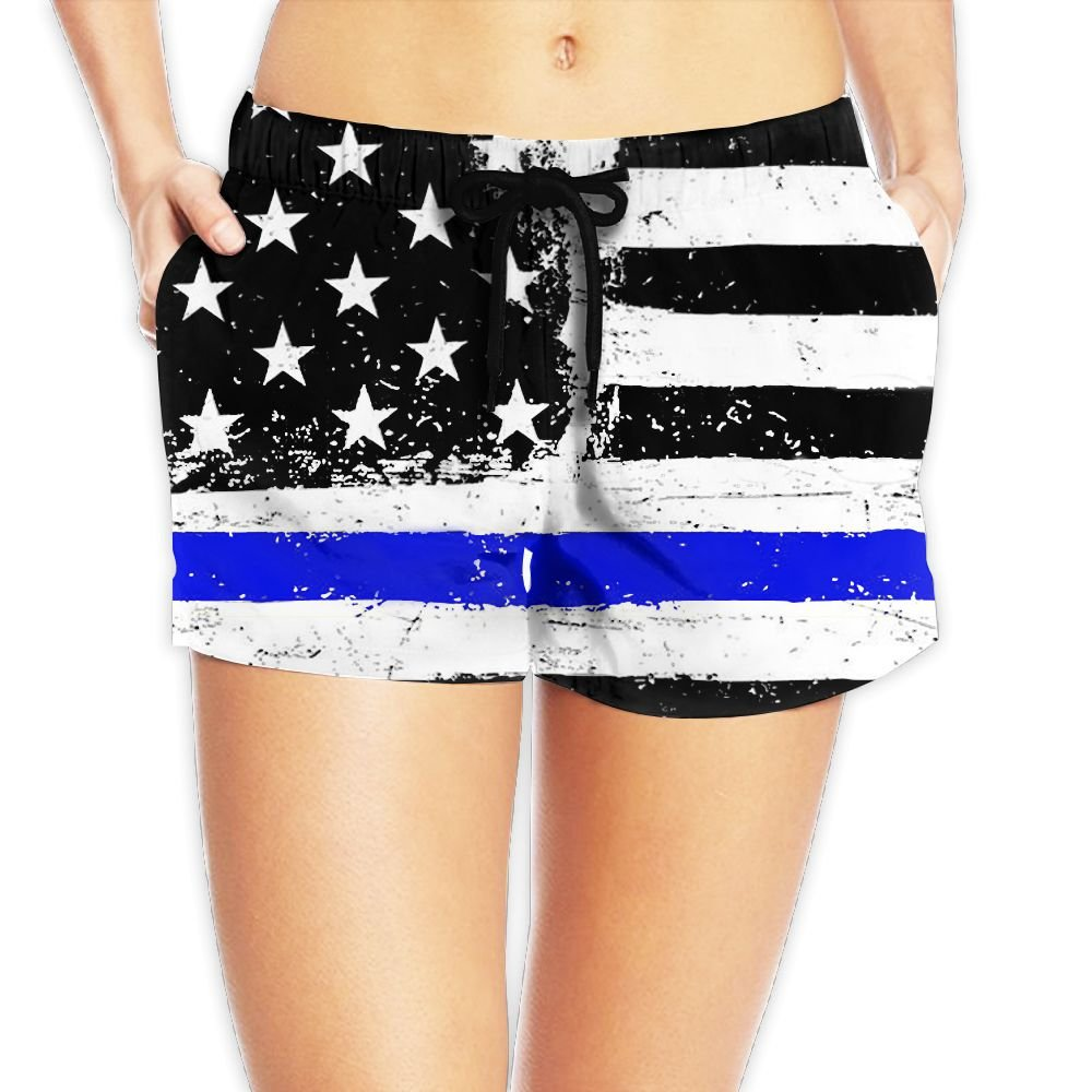Usieis American Flag Surfing Pocket Elastic Waist Women\'s Beach Pants Shorts Beach Shorts Swim Trunks