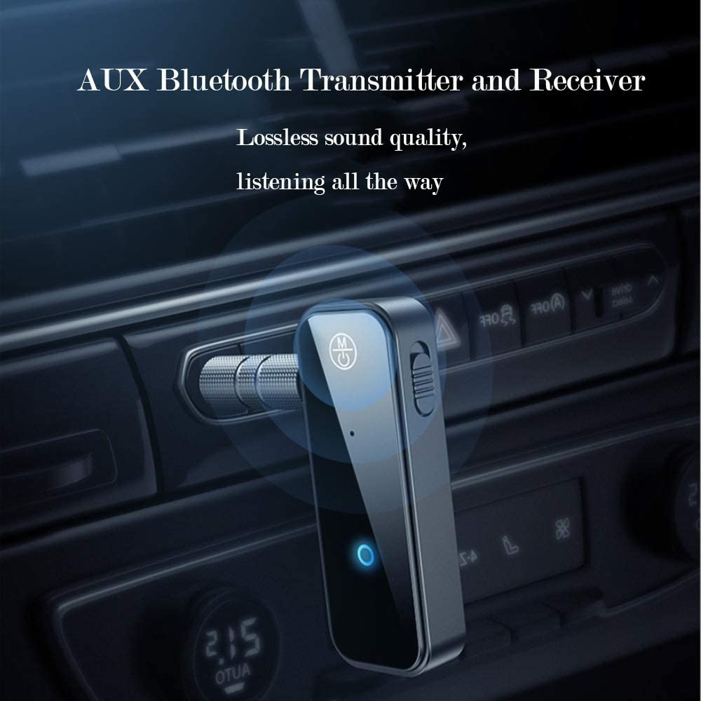 LYINBO Bluetooth 5.0 Receiver Car Bluetooth Aux Adapter with 3.5mm Aux Stereo Output for Car Home Music Streaming Sound System 2-in-1 Bluetooth Transmitter and Receiver