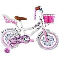 Monk Infantil Bicicleta Mandala para NIÑAS con Ruedas Laterales, PORTAMUÑECAS Y Canastilla Frontal RODADA 16 1 Velocidad (Blanca)