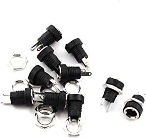 URBEST 15Pcs 2.1mm x5.5mm 2 Pins DC Power Jack Female Panel Mounting Connector Socket