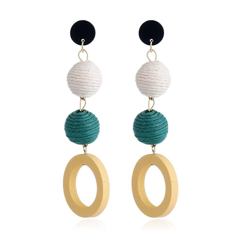 Bohemian Women Fringe Thread Ball Beaded Tassel Hoop Earrings Gift For Her (D)