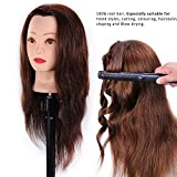 HAIREALM 24'' Mannequin Head 100% Human Hair Hairdresser Training Head Manikin Cosmetology Doll Head (Table Clamp Stand Included) HA0418P