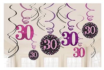 Dekoration Zum 30 Geburtstag Swirl Set 12 Stuck Folienspiralen Zum