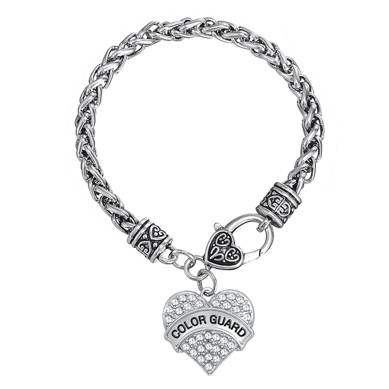 Moda FamilyMall color Guardia palabras con Clear Crystal trigo pulsera de cadena joyería