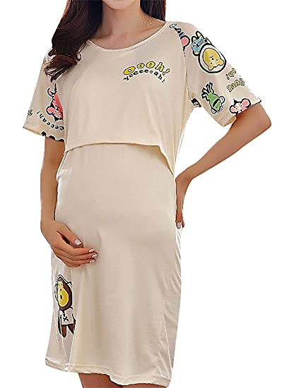 6132e9a628c90 Hibukk Women Cartoon Print Short Sleeve Maternity Nursing Night Tank Dress  at Amazon Women's Clothing store: