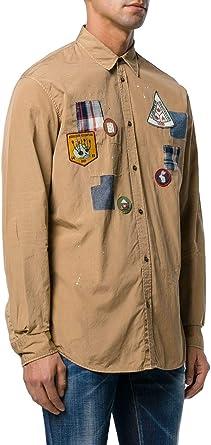 DSQUARED2 Camisa Parches Manchas S74DM0106S36275 Color Kaki, Talla 52.: Amazon.es: Ropa y accesorios