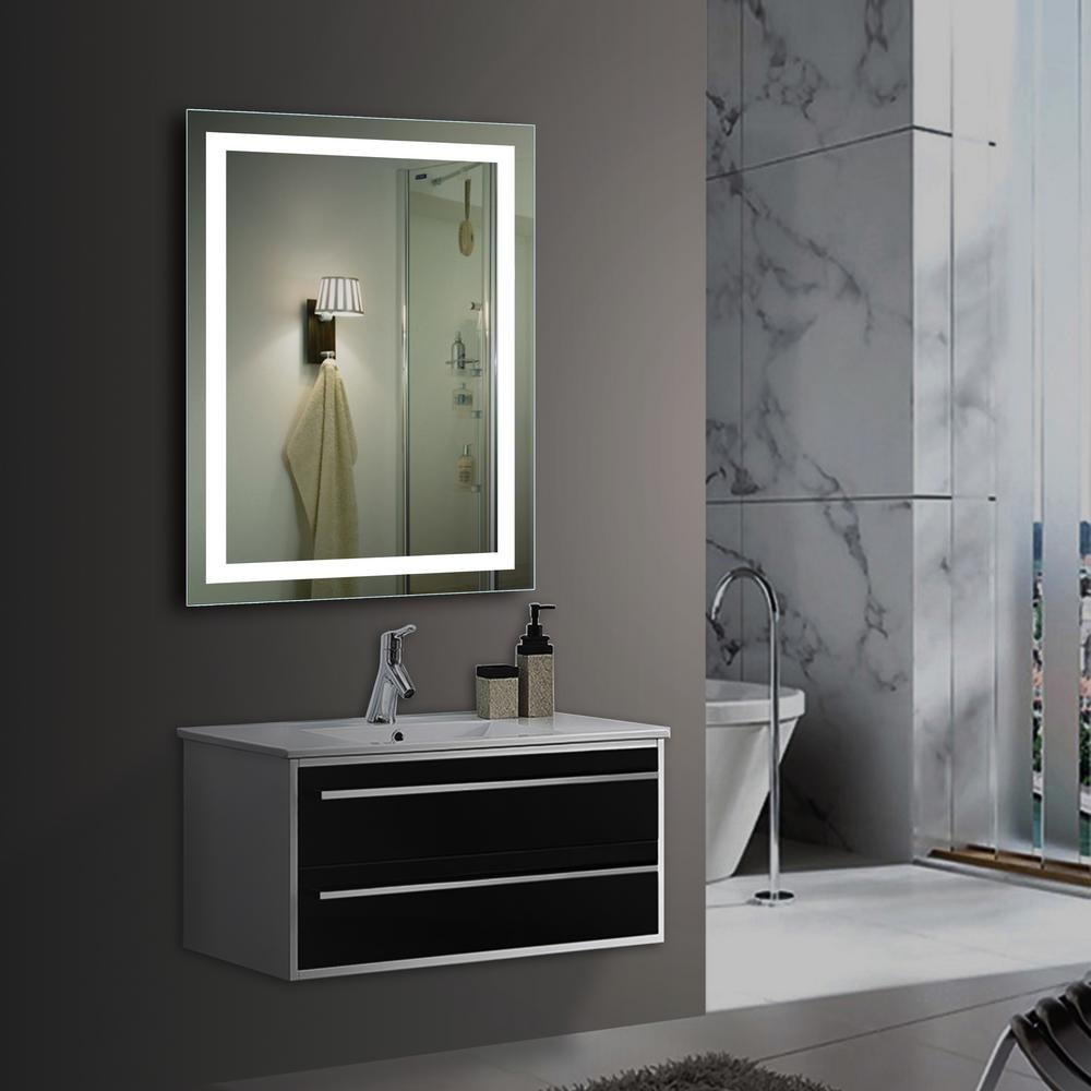 28 x 20 Wall Mounted Dimmable Led Bathroom Mirror Backlit Lighted Frameless Bathroom Vanity Mirror with Touch Botton and Anti-Fog Function 28 x 20