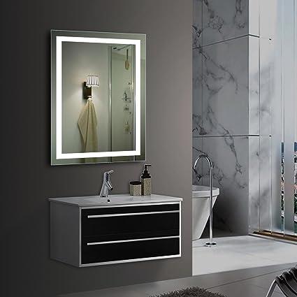 Bonnlo 28u0026quot; X 20u0026quot; Led Bathroom Mirror Wall Mounted Backlit Bathroom  Vanity Mirror With