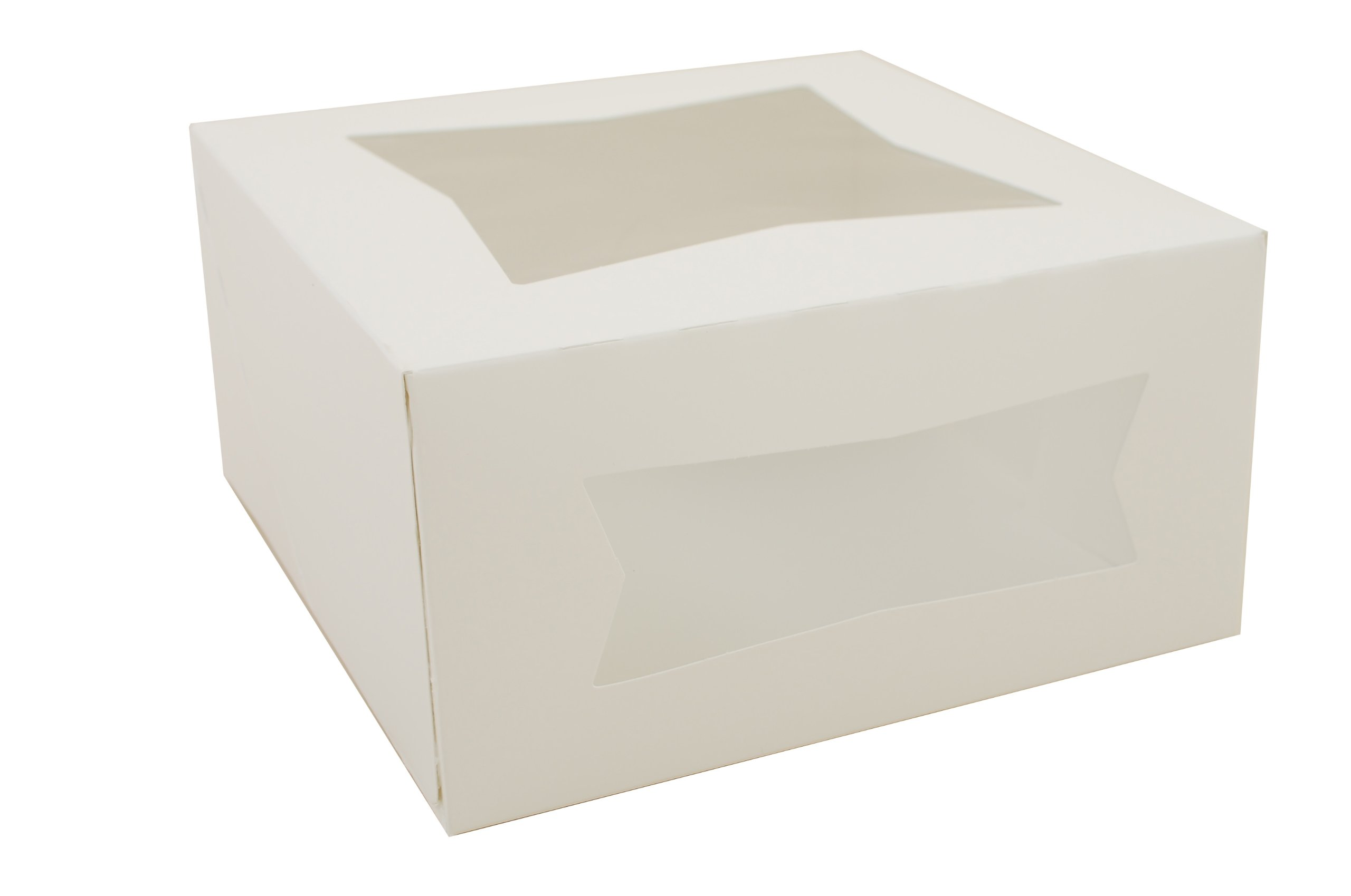 Southern Champion Tray 24053 Paperboard White Window Bakery Box, 8'' Length x 8'' Width x 4'' Height (Case of 150)