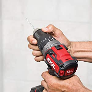 SKIL PWRCore 20 Brushless 20V 1/2 Inch Heavy Duty Hammer Drill, Includes 5.0Ah Lithium Battery and PWRJump Charger - HD529502