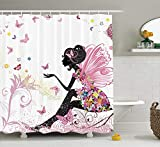 Pink Butterfly Girl with Floral Dress Flower Design Fairy Angel Wings Fae Home Accent Soft Colors Modern Designer Feminine Decor Dreamy Folklore Shower Curtain Black White