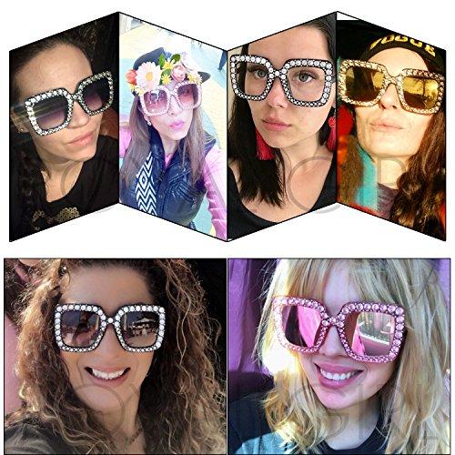 ROYAL GIRL Black Sunglasses For Women Oversized Square Luxury Crystal Frame Brand Designer Fashion Glasses (Black, 67)