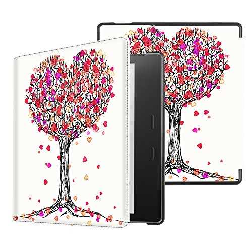 (Fintie Slimshell Case for All-new Kindle Oasis (10th Generation, 2019 Release and 9th Generation, 2017 Release) - Premium PU Leather Lightweight Protective Cover with Auto Wake Sleep, Autumn Love)