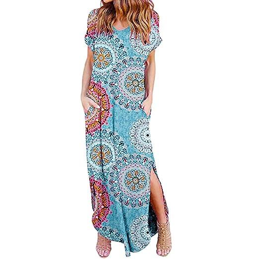 32032d2359 POTO Dress for Women Summer Loose Pocket Maxi Dress Short Sleeve Split Long Beach  Dresses Evening