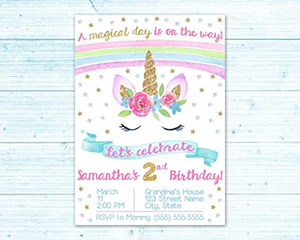 Olga212Patrick Watercolor Unicorn Birthday Invitation First Toddler Pastel Rainbow