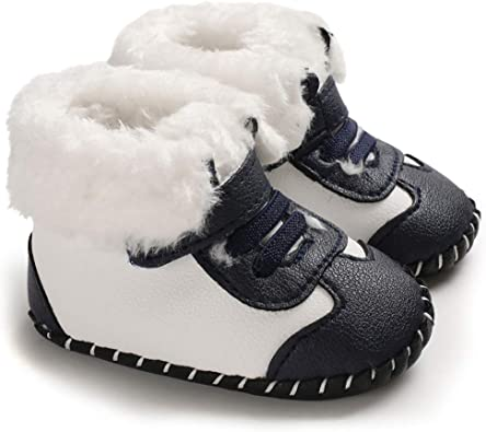 CINDEAR Infant Baby Boys Girls First Walker Shoes Suede Faux-Fur Lined Warm Winter Snow Boots for Newborn Baby Crib Shoes
