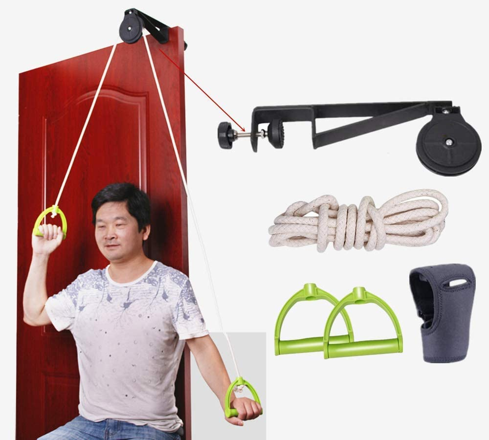 Shoulder Arm Pulley System Set - Over Door Rehab Exerciser for Home Physical Therapy Frozen Rotator Cuff Recovery and Stretching Strengthener Range of Motion (B)