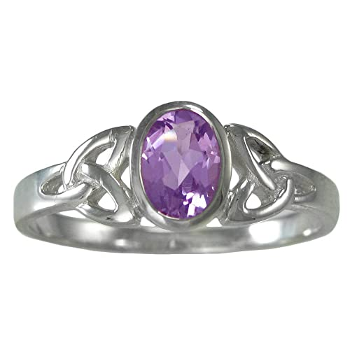 Sterling Silver Celtic Triquetra Knot Amethyst Gemstone Ring Sizes 4-15