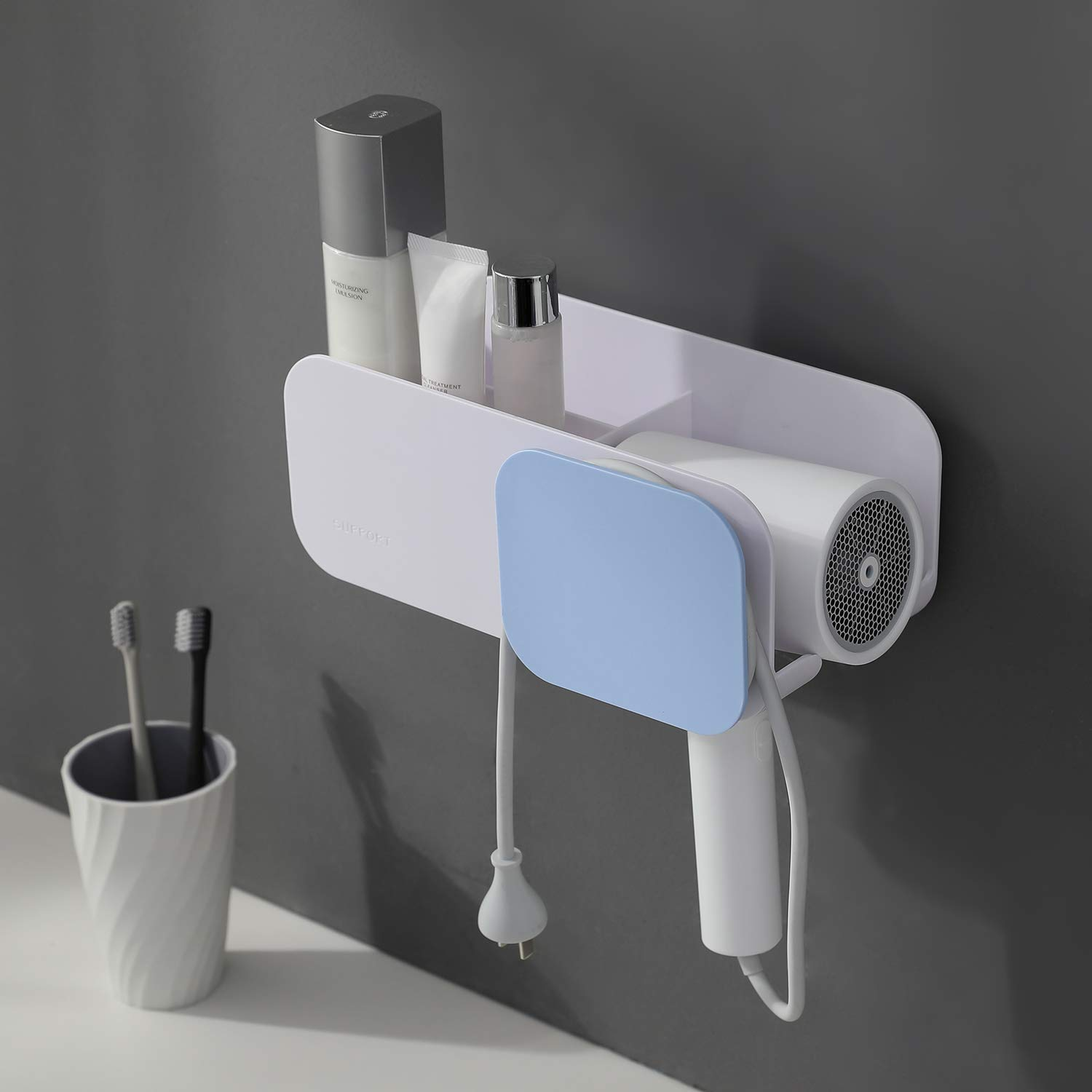 YIGII Adhesive Hair Dryer Holder - No Drilling Hair Dryer Rack Hair Care Styling Tool Organizer Holder for Bathroom Wall Mount Blow Dryer Holder Storage