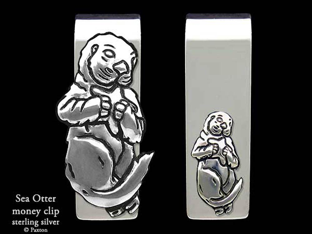 Sea Otter Money Clip in Solid Sterling Silver Hand Carved, Cast & Fabricated by Paxton