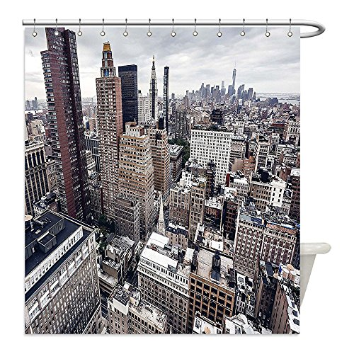 Costumes Redwood City (Liguo88 Custom Waterproof Bathroom Shower Curtain Polyester Cityscape New York City American Metropolitan State Scenery Art Photo Charcoal Grey White and Redwood Decorative bathroom)