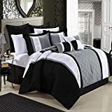 Black and White King Size Comforter Chic Home 8-Piece Embroidery Comforter Set, King, Livingston Black
