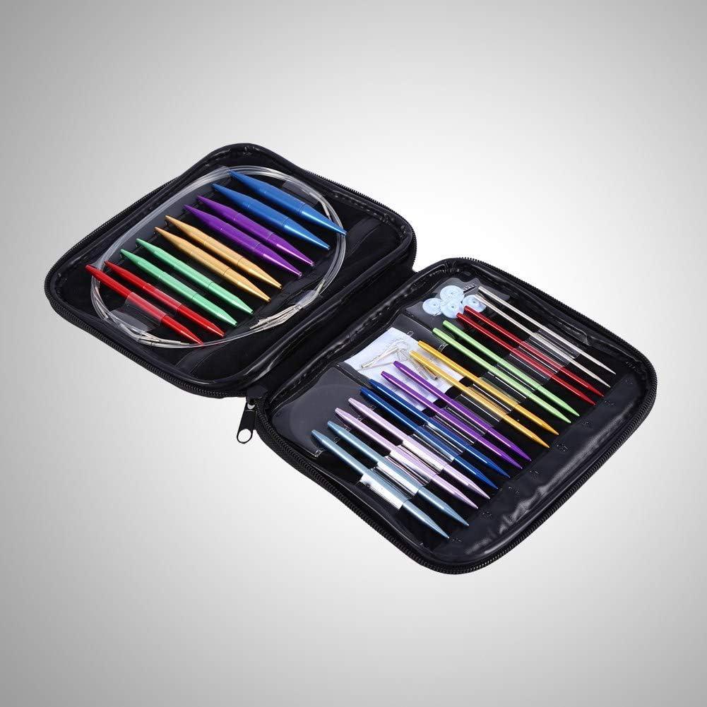 intercambiabili 2.75-10mm Aghi circolari in lega di alluminio con set completo di accessori Maglione per ricamo Strumenti per maglieria Aghi per uncinetto tessuti fat Set di ferri da maglia circolari