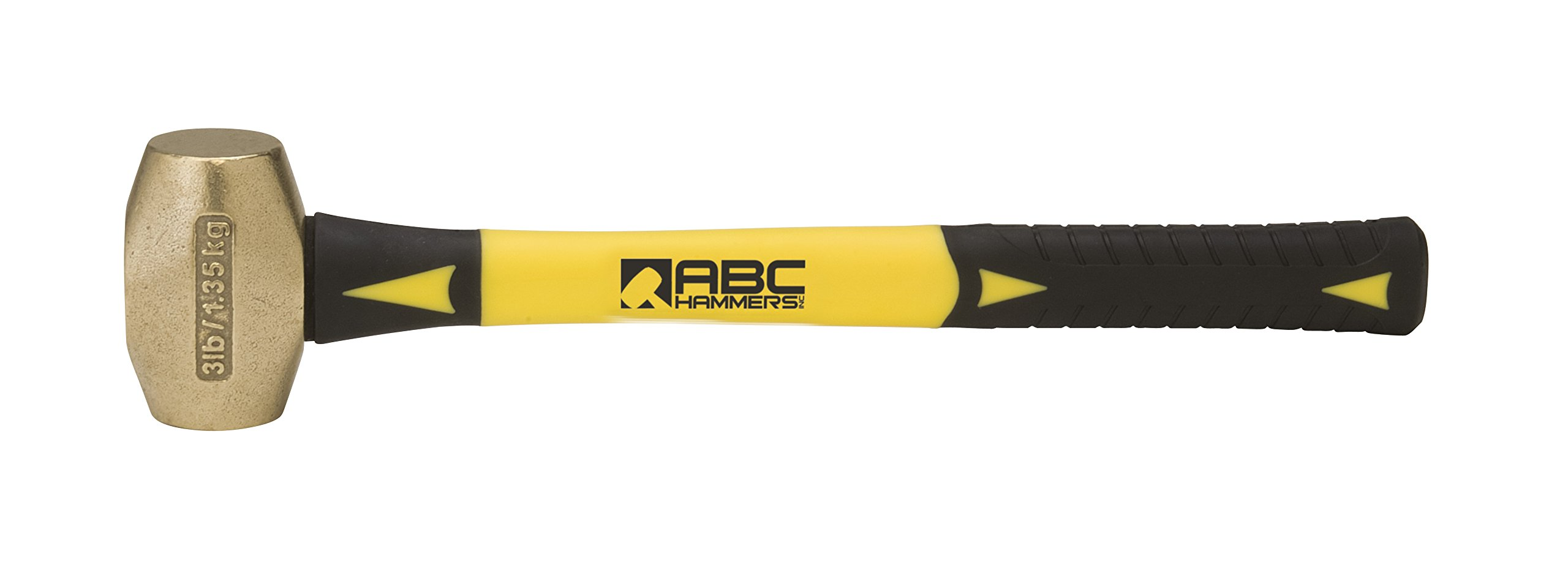 ABC Hammers ABC3BF Brass Hammer with 14-Inch Fiberglass Handle, 3-Pound by ABC Hammers